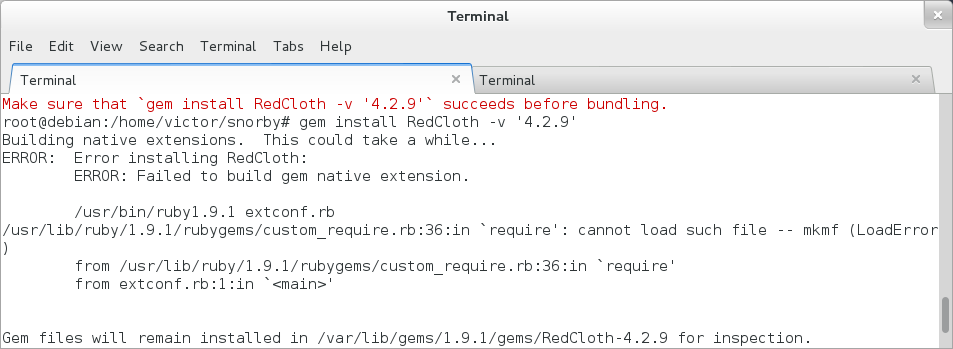 redcloth error
