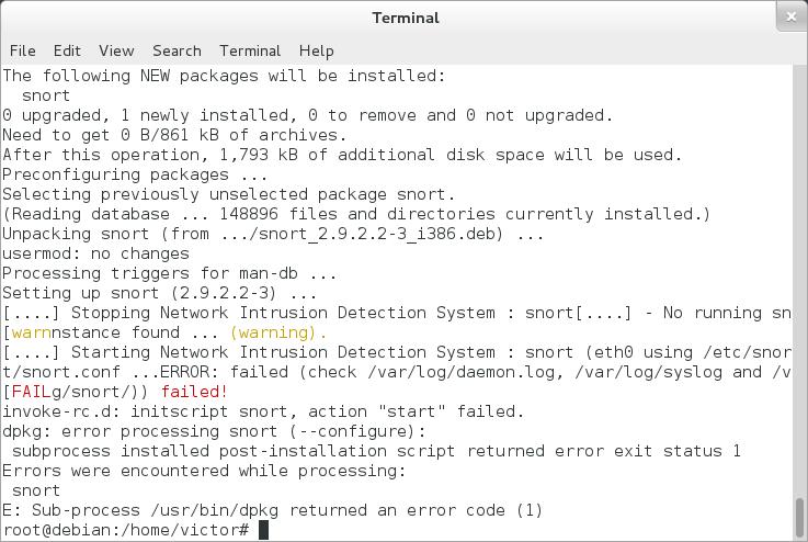 snort install error