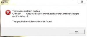 BackgroundContainer.dll startup error