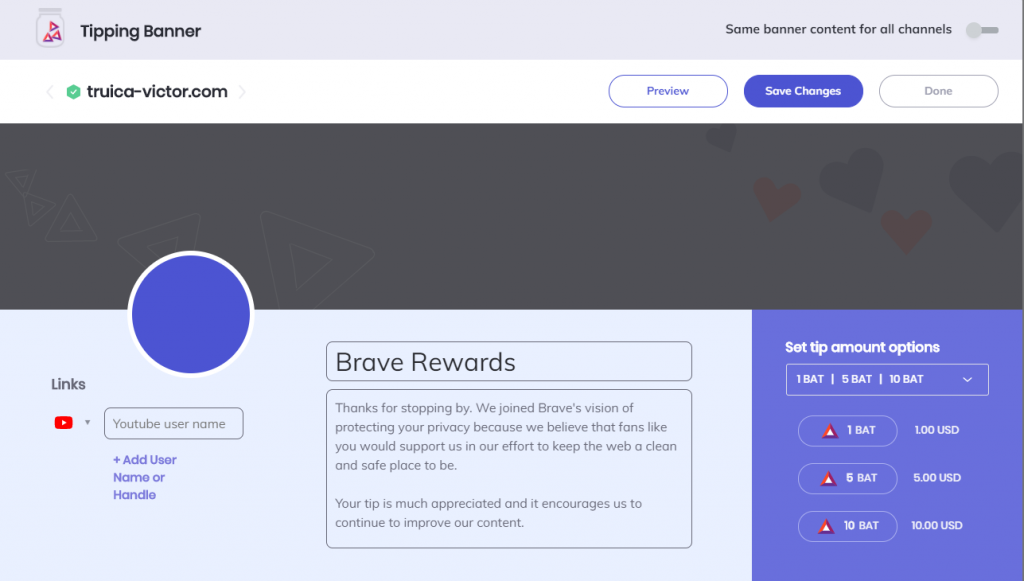Brave Rewards - Customize your Tipping Banner