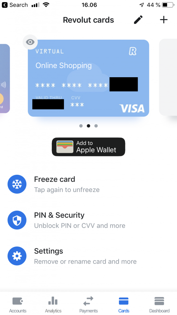 revolut card settings with the freeze option